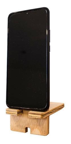 Soporte porta celular iphone escritorio accesorios madera
