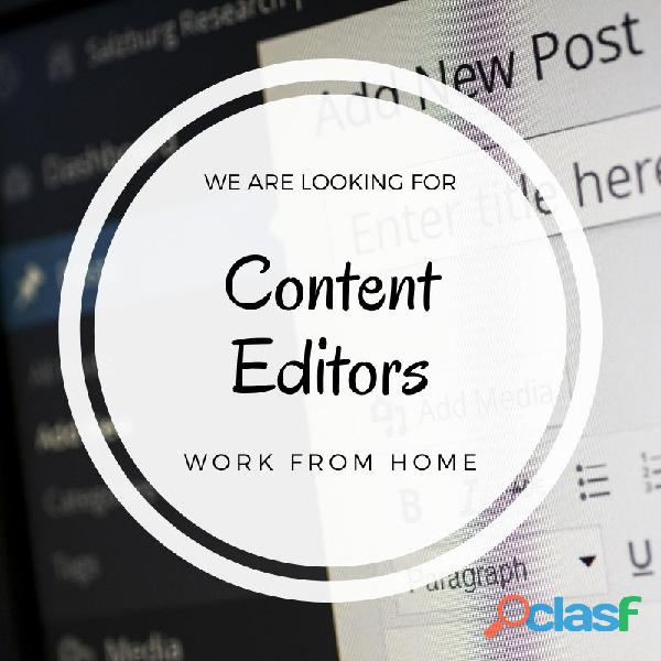 Se necesita editor de contenido, trabajar desde casa