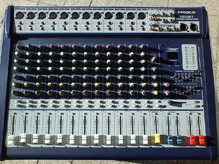 Consola proco sb8400fx 12 canales + cajas crest st-15