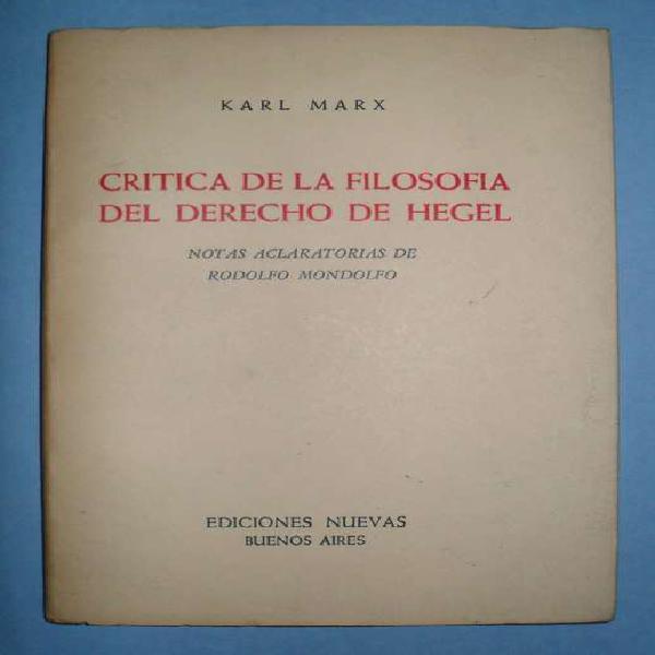 Critica de la filosofia del derecho de hegel karl marx 1968
