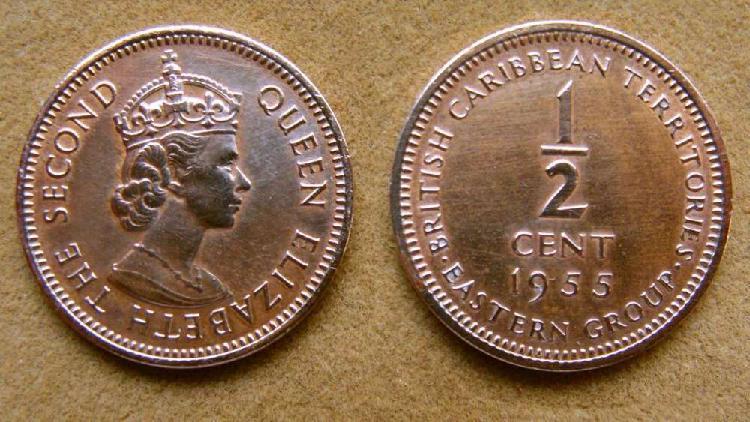 Moneda de 1/2 cent territorios británicos en el caribe 1955