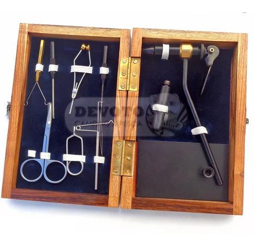 Morsa atado herramientas pesca mosca grey gull kit fly caja