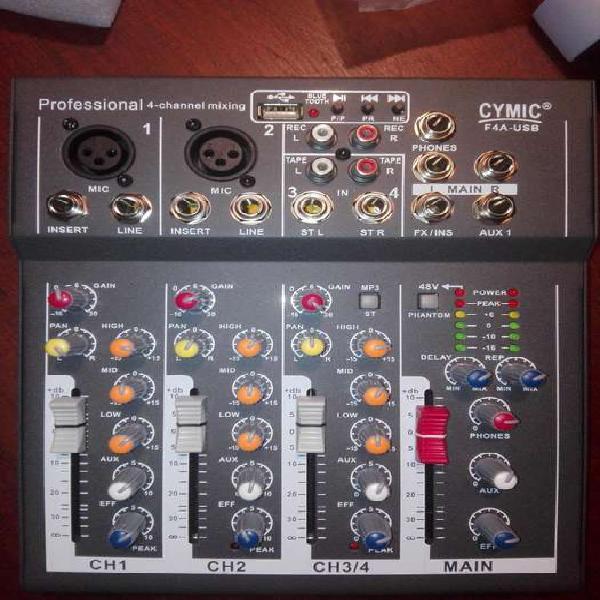 Consola mixer 4 canales,usb,mp3,bluetoothefectos.nueva en su