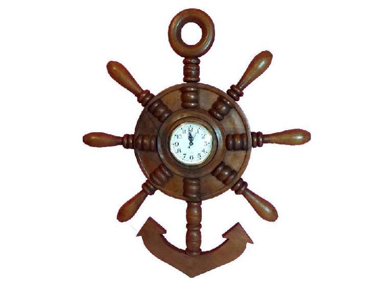 Reloj de pared timón ancla de algarrobo