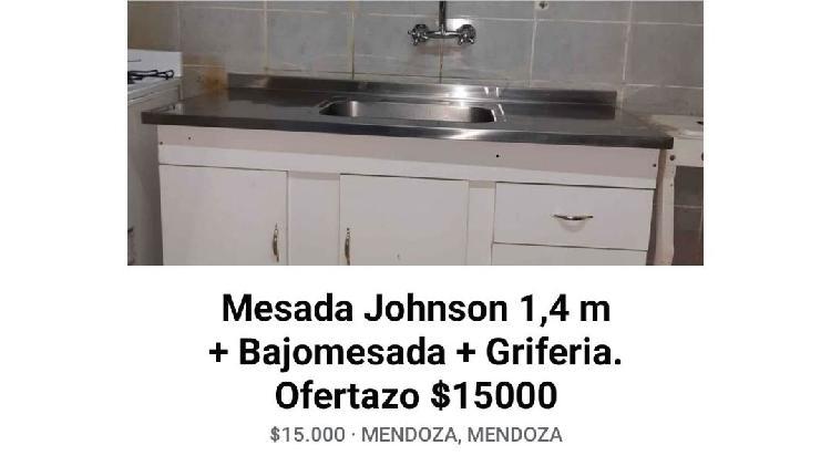 Mesada johnson + bajomesada + griferia de 1, 4 metro