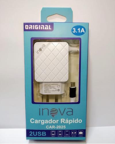 Cargador inova carga rapida ficha v8 usb 2 entradas cable