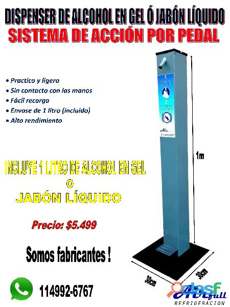 Dispenser sanitizador de manos a pedal