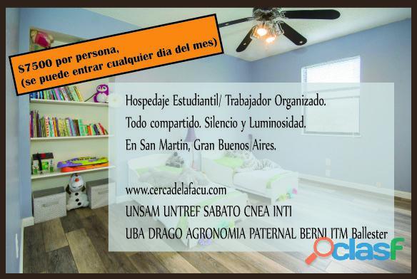 Habitacion compartida en San Martin Buenos Aires. Hospedaje organizado.