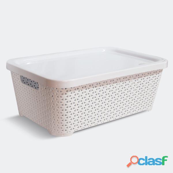 Canasto Organizador Plastico Rattan Grande + Tapa Colombraro