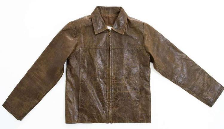 Campera de cuero marrón marca stone original talle m