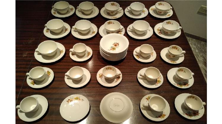 Juego de té y café de loza exelsior con plato para servir