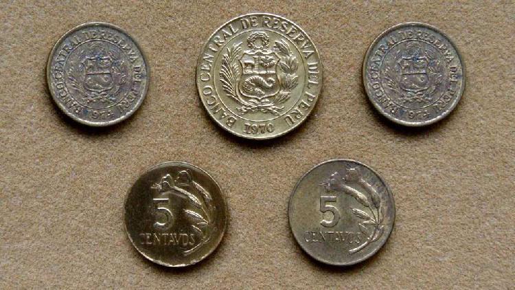 Monedas de 5 y 10 centavos perú 1969 - 1974