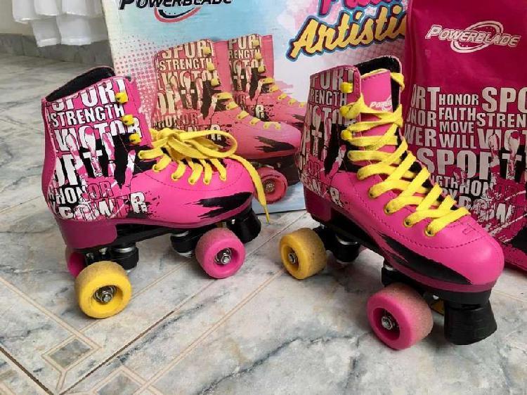 Patín artistico 4 ruedas powerblade color rosa para nenas