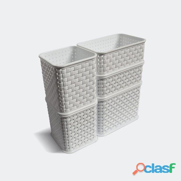 Set organizador x 5 mini ratan colombraro cesto plástico