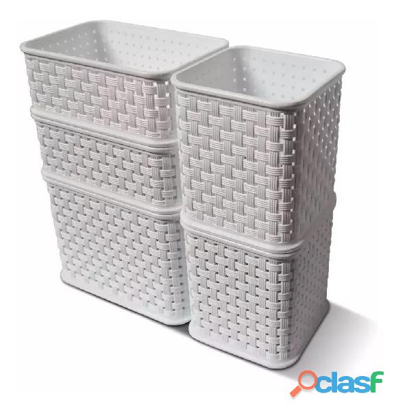 Set Organizador X 5 Mini Ratan Colombraro Cesto Plástico 5