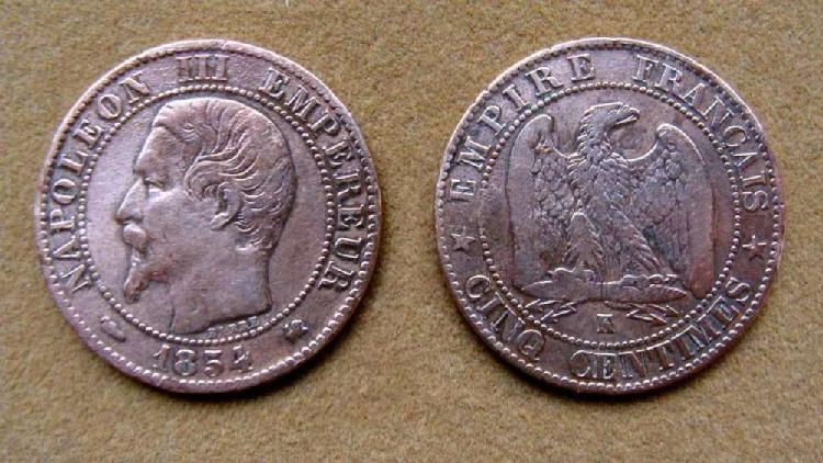 Moneda de 5 céntimos de franco francia 1854