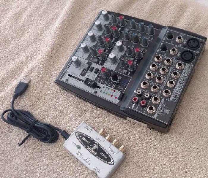 Placa de audio + consola bheringer xenyx 1002 fx