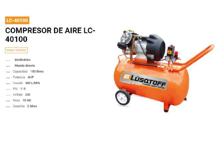 Compresor de aire 100 lts 4hp monofásico lusqtoff directo