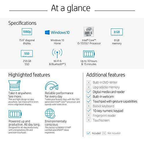 Hp 15-inch fhd laptop, 10th gen intel core i5-1035g1, 8 gb