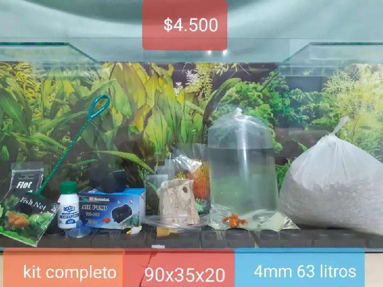 Pecera kit completo + un pez de regalo 90x35x20 4mm 63