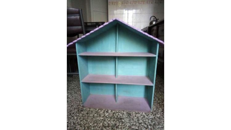Repisa, casita, biblioteca de madera.