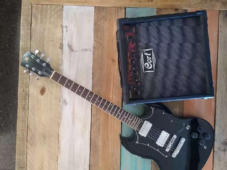 Guitarra sx sg + amplificador cort monster 15w