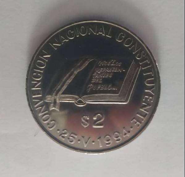 Moneda 2 pesos año 1994 conv. cont.