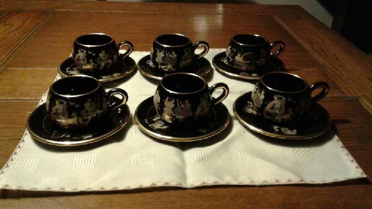 Porcelana griega terracotta juego tazas café fino oro 24k