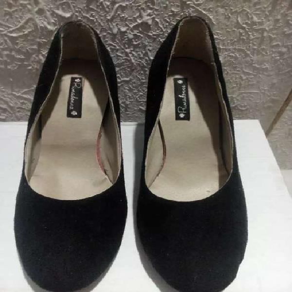 Zapatos mujer negro gamuza 37