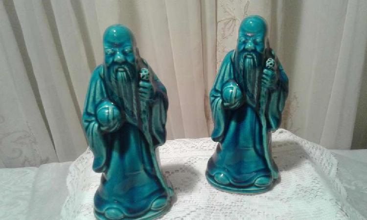 2 antiguos monjes chinos porcelana azul blue chino fen shui