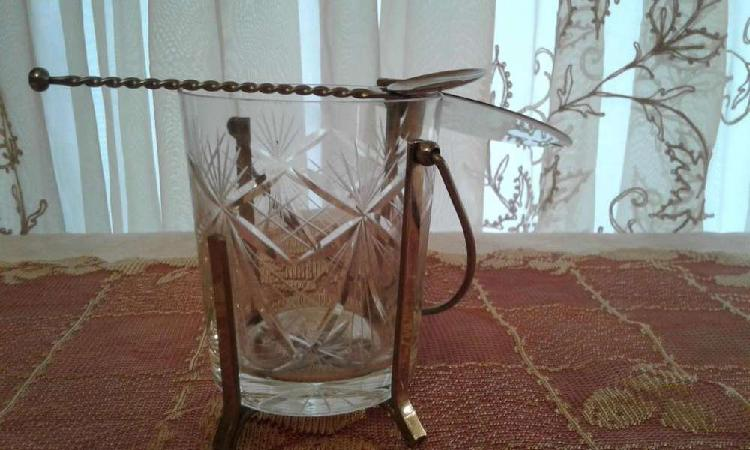Antigua hielera - azucarera - dulcera de cristal tallado