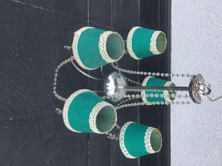 Araña colgante 5 luces con caireles