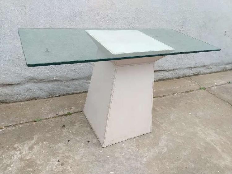 Mesa arrime 1.30 x 40 x 75 alto base madera cuero grueso