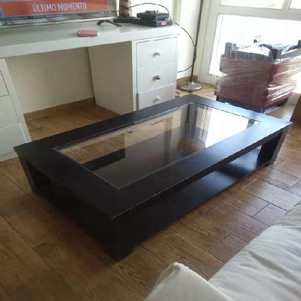 Mesa ratona para restaurar, madera y vidrio