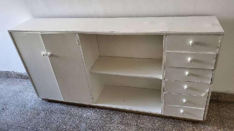 Vajillero / organizador madera pintada blanca 1,80 x 0,90 x