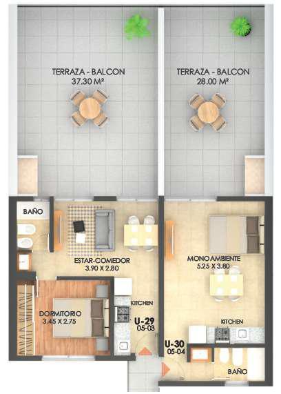 Ambiente unico con balcon terraza y parrillero - a metros de