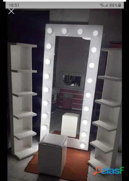 Espejo Cuerpo Completo Estilo Hollywood Vestidor Mueble Maquillaje 20 Focos Nuevo Envió Gratis