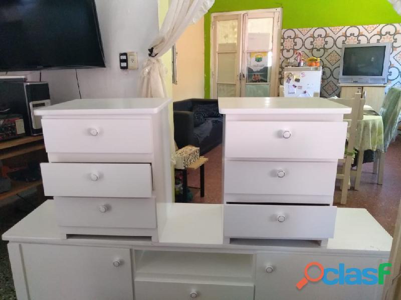 Mesa De Luz Mueble 3 Cajos Armada Dormitorio Comoda Mesita De Noche MDF Envios sin Cargo 3