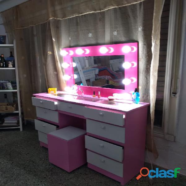 Tocador maquillador cómoda estilo hollywood 10 focos mueble espejo envíos sin cargo
