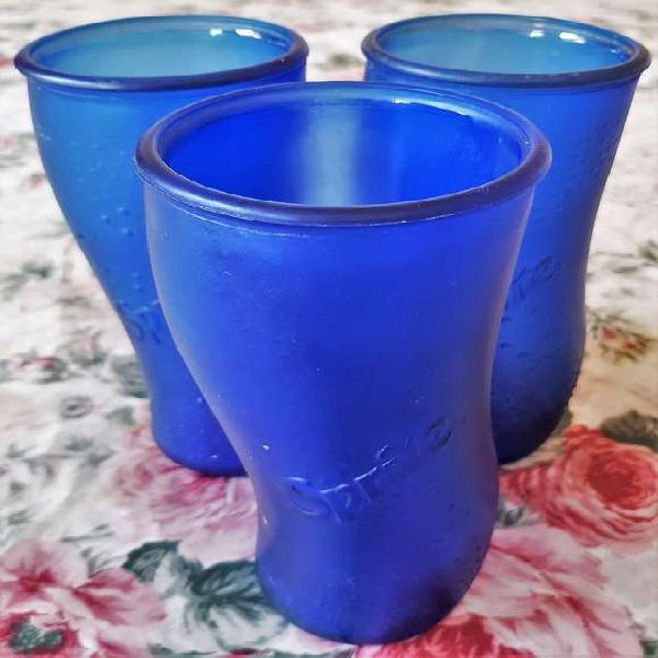 Vaso sprite vidrio esmerilado curvo azul colección