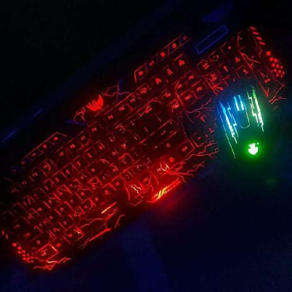 Combo teclado retroiluminado usb con mouse multicolor