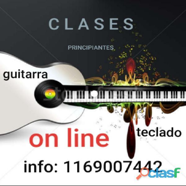 CLASES DE TECLADO O GUITARRA PARA PRINCIPIANTES   on line.