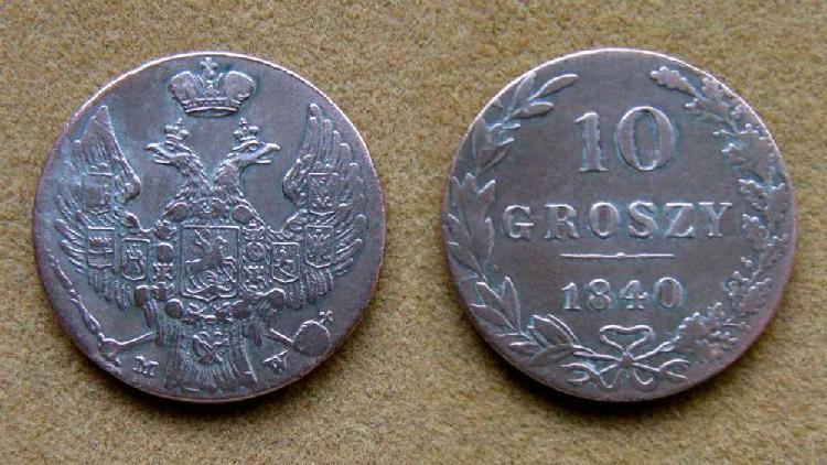 Moneda de 10 groszy de plata polonia bajo dominación rusa