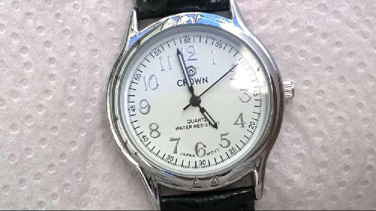 Reloj crown para hombres de vestir malla de cuero