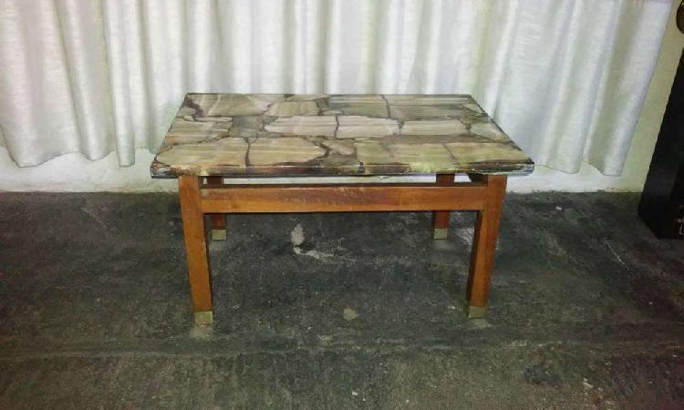 Mesa ratona y mesa de comedor en marmol onix
