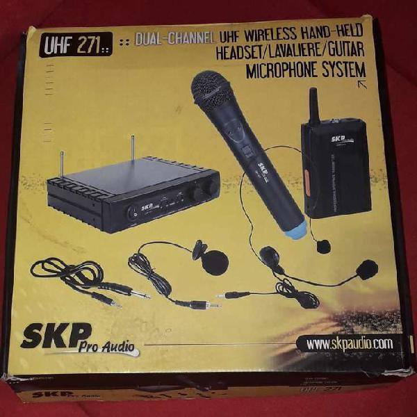 Microfono skp inalámbrico uhf271 vincha, de mano h
