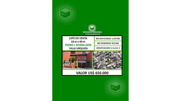 Pedro ignacio rivera 5600 100 - lote en venta en villa