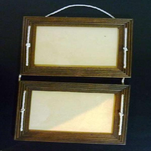 Portarretrato colgante de madera doble 13 x 18 y regalo