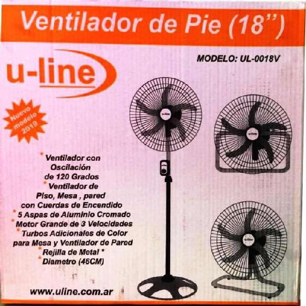 Ventilador u line turbo 3 en 1 metal 46 cm 18 pulg giratori