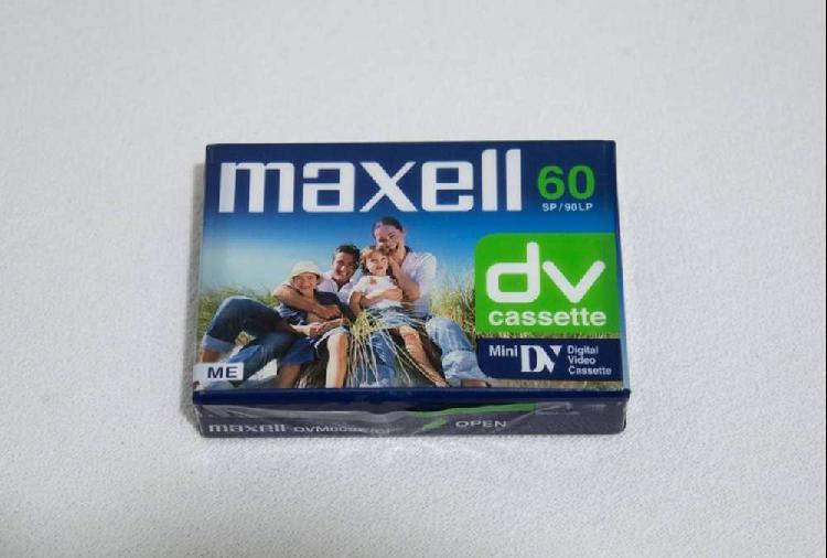 Cassette virgen mini dv de 60 minutos maxell made in japan.